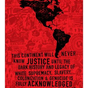 Black print on a red collage addresses White supremacy. A black stencil of North and South America sits on top of the print.