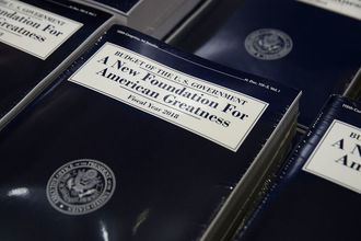 Stacks of President Donald Trump's FY2018 budget proposal are seen during a photo availability May 23, 2017, on Capitol Hill in Washington, D.C. President Trump has sent his FY2018 budget proposal request to the Congress.