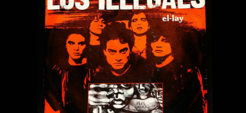 """Los Illegals """"El-Lay"""" artwork in red and grayscale, black background"""