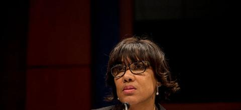 "Flint, Michigan Mayor Karen Weaver testifies before the House Democratic Steering & Policy Committee at a hearing titled, ""The Flint Water Crisis: Lessons for Protecting America's Children"" at the Capitol on February 10, 2016, in Washington, D.C."