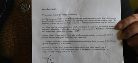 The Wells Fargo letter from Jon R. Campbell, head of government and community relations, asking for a meeting with Standing Rock Sioux Tribe elders.
