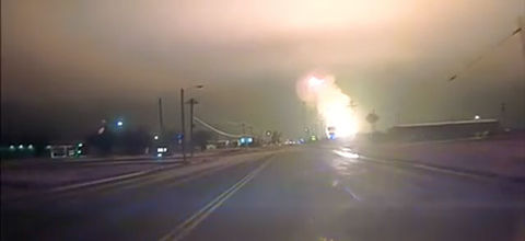 Colorlines screenshot of natural gas pipeline explosion, taken from Spearman Police Department Facebook page on January 19, 2017