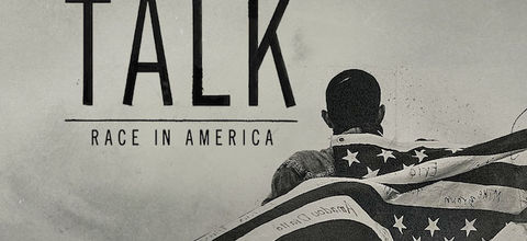 """Illustration reads """"The Talk"""" and shows Black boy with American flag on his shoulders, the names of people killed by police written on the stripes"""