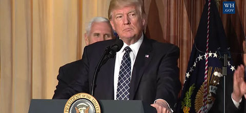 President Donald Trump speaks about his Energy Independence Executive Order on March 28, 2017, at EPA headquarters in Washington, D.C.