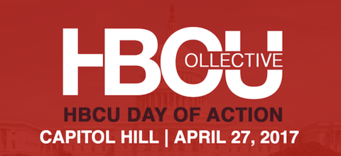 """Red background over photo of Capitol Building with words: """"HBCU Collective, HBCU Day of Action, Capitol Hill, April 27, 2017."""""""