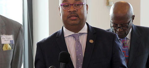 Congressman Donald Payne Jr. attends the World Business Lenders ribbon cutting in Jersey City on July 20, 2016, in Jersey City, New Jersey.