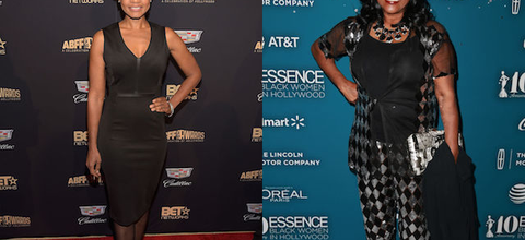 Black woman in black dress in front of black screen with gold imagery; Black woman in black blouse and black-and-grey-patterned outfit in front of blue screen with grey text and icons