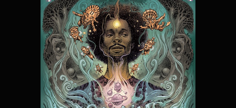 Illustration of Black man surrounded by grey trees, golden beings and purple planets on teal background