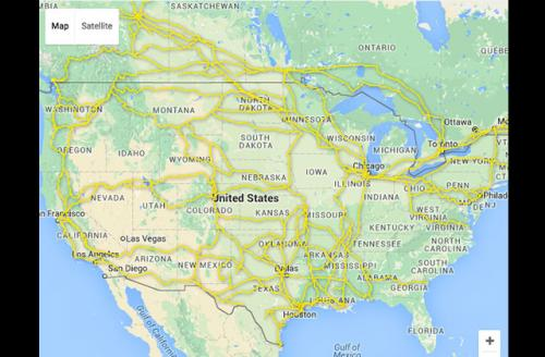 Colorlines Screenshot of map showing blast zones across the United States courtesy of STAND, taken on July 11, 20166.