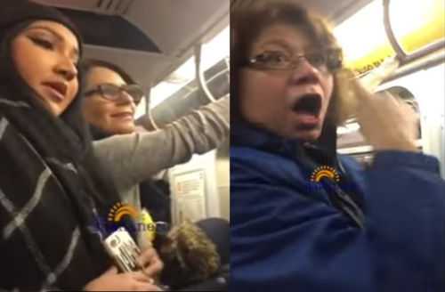 Tracey Tong, left, and woman who was harassing Muslim subway riders to the right.