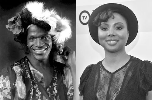 Grayscale image of Black woman in patterned vest and shirt and ornate hat in front of dark background; Greyscale image of Black woman in dark hat and dress in front of light wall with dark text