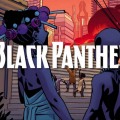 "image from ""Black Panther: A Nation Under Our Feet"" with purple-hued characters in front of orange background"