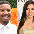 Michael B. Jordan in white shirt with orange and green background; America Ferrera with beige dress and off-white background