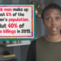 "Black woman wearing a black and olive shirt stands beside onscreen graphic that reads: ""Black men make up just 6 of the nation's population. But 40% of police killings in 2015."""