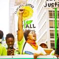 A group of climate justice activists at the Peoples Climate March in New York City on Sept. 21, 2014.