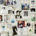 Collection of handmade 9/11 missing person posters outside of New York City's Saint Vincent Hospital