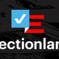 """White text reading """"Electionland"""" under red-white-and-blue flag with white check instead of stars, all against black background with light American flag tracing"""