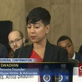 Sexual assault survivor Amita Swadhin testifies against Sen. Jeff Sessions' confirmation on January 11, 2017.