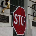 A stop sign stands outside the Environmental Protection Agency (EPA) building on May 24, 2013, in Washington, D.C.