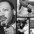 Dr. Martin Luther King in a range of images including a family photo and a photo from a speech