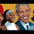 Black woman with red headwrap next to Black woman with blue headband and white shirt next to Black man with navy suit next to Black man with grey suit against yellow-lined background