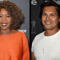 Black woman in orange dress in front of dark grey background; Native man in white shirt in front of of dark grey background