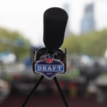 Microphone with NFL Draft 2017 written on it