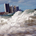 Buildings are seen near the ocean as reports indicate that Miami-Dade County will be one of the most at-risk places for rising water levels due to climate change on March 14, 2012, in North Miami, Florida.