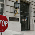 A stop sign stands outside the Environmental Protection Agency building on May 24, 2013, in Washington, DC.