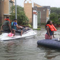 A Jetski is used to help people evacuate homes after flooding with Hurricane Harvey on August 27, 2017 in Houston, Texas.