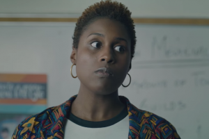 Issa Rae in multicolored cardigan sweater