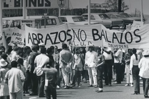 Black-and-white image of Chicano Moratorium march