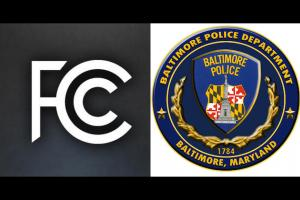 FCC logo in white against gray-navy background, yellow and navy Baltimore Police Department logo against white background