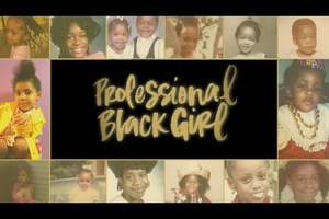 """""""Professional Black Girl"""" in gold text against black background, surrounded by multi-colored pictures"""
