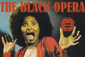 "Cover art for ""Black Frankenstein,"" features frightened Black woman with Afro and unbuttoned red sweater"