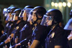 Police officers in riot gear