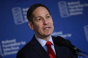 "Tom Frieden, director of the Centers for Disease Control and Prevention, delivers remarks during a press conference September 29, 2016, in Washington, D.C. Yesterday, he called the Zika virus ""not controllable."""