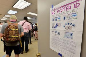 White sign with purple lettering and multicolored images against white door with gold handle in foreground of voters in multicolored clothing assembled in line