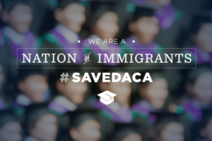 """Graphic: """"We are a nation of immigrants. #SaveDACA."""""""