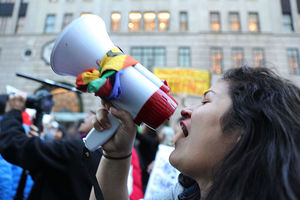 Thousands of anti-Donald Trump protesters, including many pro-immigrant groups, held a demonstration along 5th Avenue in New York City on November 13, 2016.