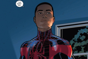 Drawing of Black man in navy and red Spider-Man outfit against navy background and white speech bubble with black text