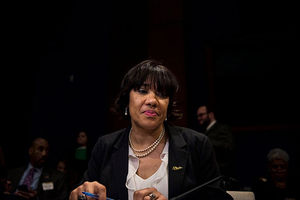 Flint, Michigan, Mayor Karen Weaver testifies before the House Democratic Steering & Policy Committee on February 10, 2016, in Washington, D.C. Yesterday, she addressed her city at a town hall.