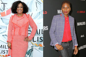 Black woman in pink dress against light blue background; Black woman in pink shirt, grey jacket and blue jeans against charcoal background