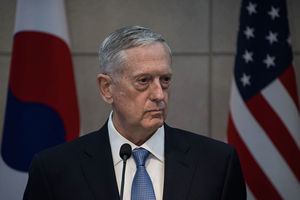 Defense Secretary James Mattis attends a joint briefing with his South Korean counterpart Han Min-Koo at the headquarters of the Defense Ministry on February 3, 2017, in Seoul, South Korea.
