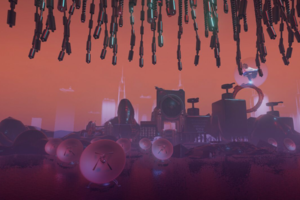 Purple and pink satellites, speakers and rocks in front of orange sky and under black hair extensions