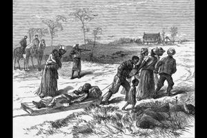 Black-and-white illustration of Black people transporting a Black body through a white field behind two Black bodies in front of White men on grey horses