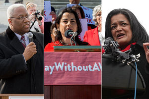 From left to right: Congress members Donald McEachin (D-VA), Nanette Diaz Barragán (D-CA), Pramila Jayapal (D-WA).