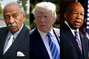 Three men: John Conyers Jr., Donald Trump, Elijah Cummings