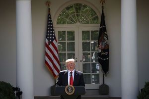 President Donald Trump announces his decision for the United States to pull out of the Paris Agreement at the White House June 1, 2017, in Washington, D.C.