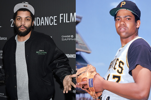 Black man in black-and-grey baseball cap and black jacket and pants with grey sweater in front of black wall with grey text; Black man in white, yellow and navy baseball uniform and black hat with yellow letter wearing brown baseball glove